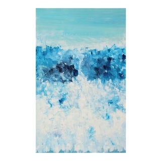 Very Large Coastal Beach Modern Abstract Original Expressionist Painting Seaglass Blue Turquoise For Sale
