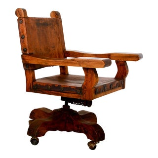 Spanish Colonial Mexican Mahogany Leather Office Rolling Chair Francisco Artigas For Sale