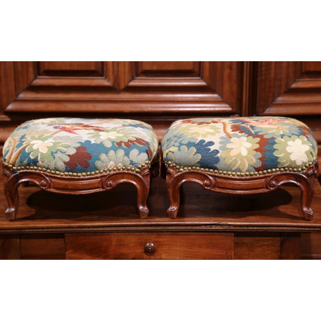 Pair of 19th Century, French, Carved Walnut Stools With Old Aubusson Tapestry For Sale - Image 4 of 10