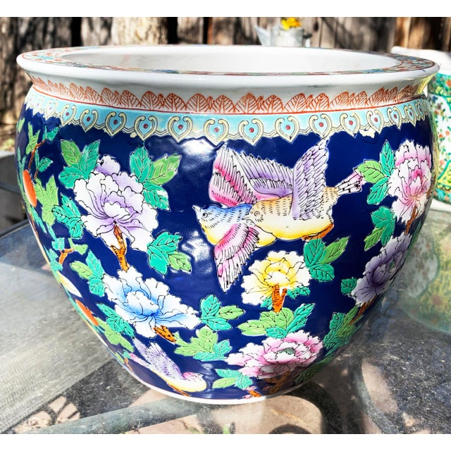 Chinoiserie Chinoiserie Blue Porcelain Planter Pot With Koi Fish Interior Motif For Sale - Image 3 of 12