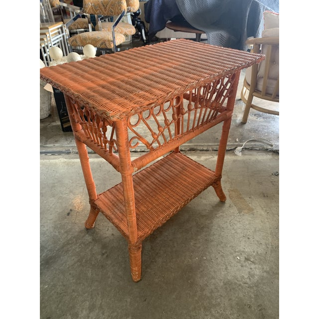 1980s Polo Ralph Lauren Wicker Side Table For Sale - Image 5 of 8