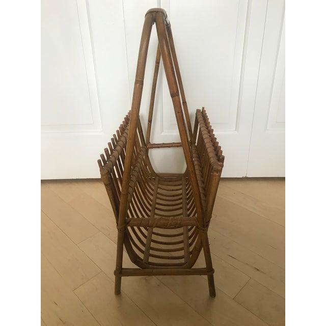 Wood Vintage Rattan Bamboo Franco Albini Style Magazine Rack For Sale - Image 7 of 12