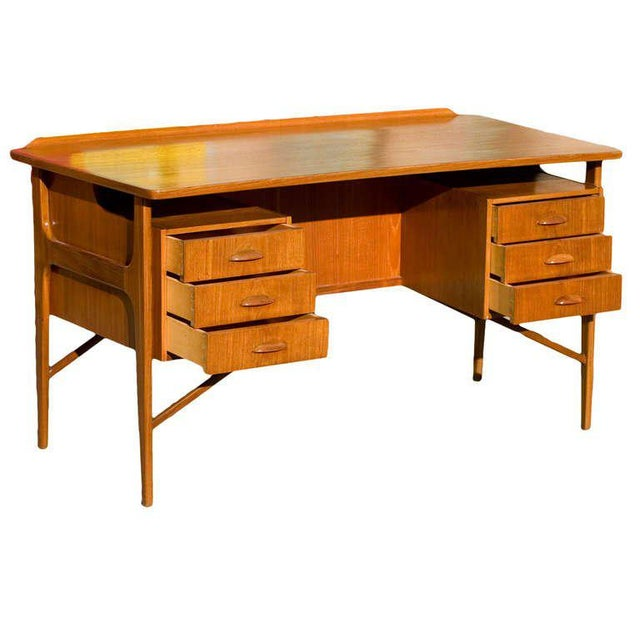 Danish Modern Danish Teak Desk in the Style of Kai Kristiansen For Sale - Image 3 of 8