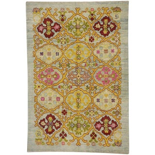 Hollywood Regency Turkish Oushak Rug With Modern Contemporary Style - 5′9″ × 8′5″ For Sale