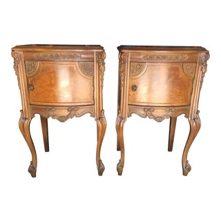 French Style Satin Wood Nightstands a Pair