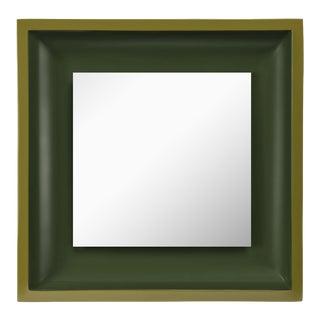 Jeffrey Bilhuber Collection Square Floating Mirror in Light Olive / Dark Olive For Sale