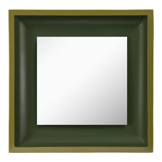 Square Floating Mirror in Light Olive / Dark Olive - Jeffrey Bilhuber for The Lacquer Company For Sale