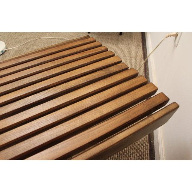 Mid-Century Danish Modern Walnut Slat Bench Coffee Table - Image 7 of 10