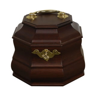 Colonial Williamsburg Restoration Virginia Metal Crafters Small Mahogany Tea Caddy For Sale