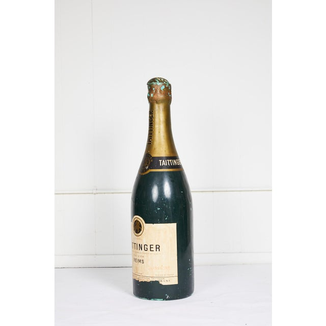 20th century vintage French Taittinger champagne bottle made of composite material and used as an advertising prop. The...