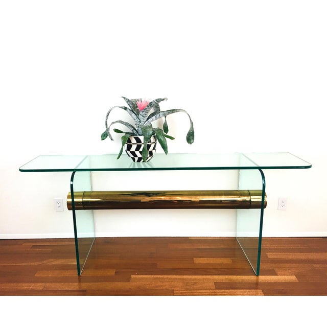 Vintage 1970s / 1980s Glass & Brass Beam Console Table - ultra modern / postmodern design - thick glass top with curved...
