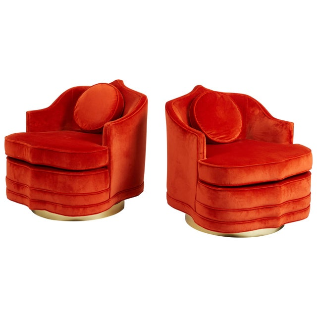 Moroccan Form Swivel Chairs on Brass Bases For Sale In Chicago - Image 6 of 6