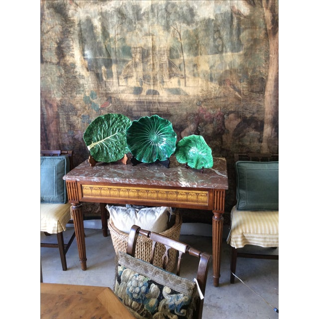 Vintage Portugese Green Lettuce Bowl For Sale In San Diego - Image 6 of 9