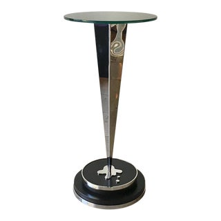 Polished Metal Pedestal With Black Glass Top 1960s For Sale