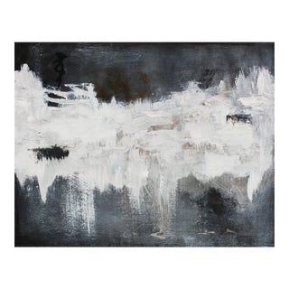 Modern Black White Gray Grey Original Abstract Painting Gallery Wall Art Canvas Hanging For Sale