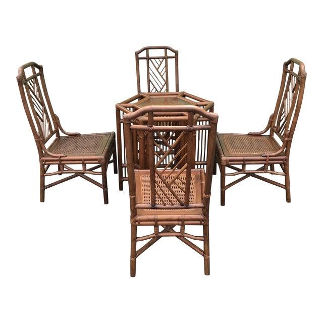 Vintage Brown Jordan Rattan Brighton Pavilion Style Table Four Chairs For Sale