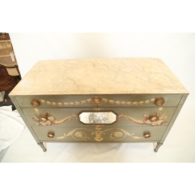 Early 20th Century Hand-Painted Italian Commode With Églomisé Plaque For Sale - Image 5 of 10