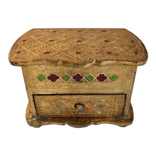 Vintage Florentine Gilt Jewelry Box For Sale