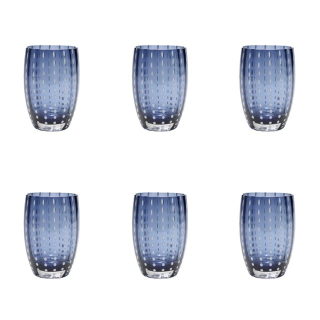 Contemporary Perle Tumbler in Blue & Grey - Set of 6 For Sale - Image 3 of 3
