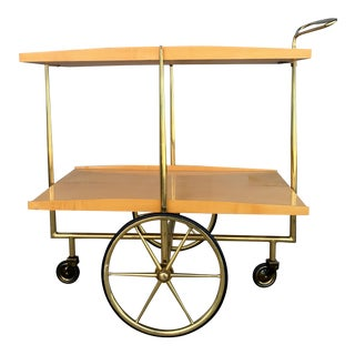 1950s Cesare Lacca Style Italian Lacquered Birch Bar Cart For Sale