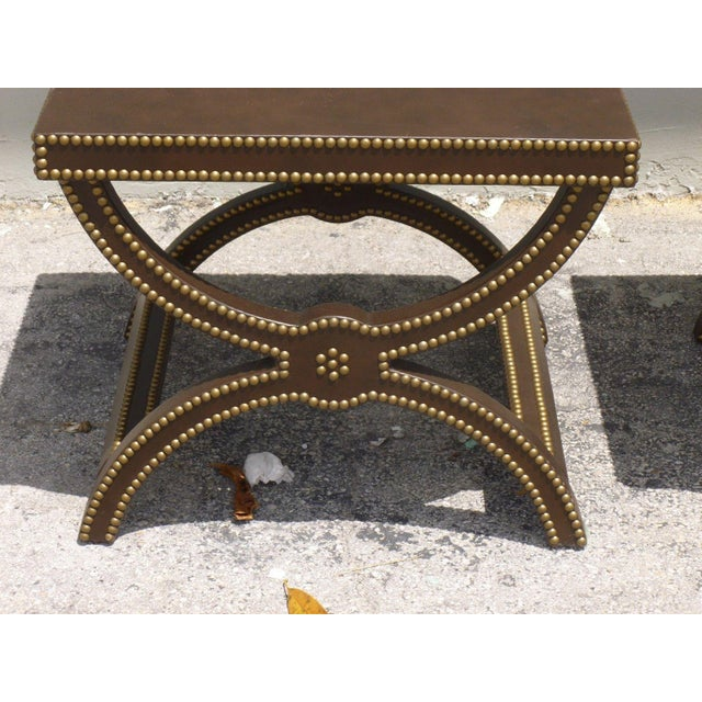 Vintage Post Modern Studded Leather Stretcher Tables- a Pair For Sale - Image 12 of 13