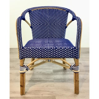 Modern Blue and White Vinyl Bamboo Arm Chair Preview