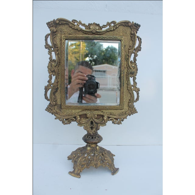 Antique French Ornate Gilt Metal Table Mirror - Image 11 of 11