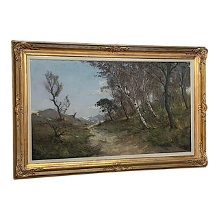 Antique Framed Oil Painting on Canvas by Gastin Cox For Sale