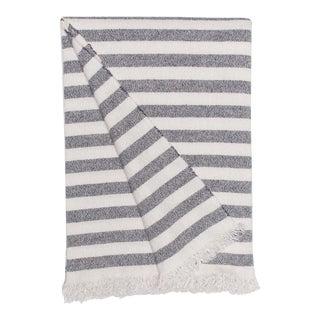 Kos Parasol Cashmere Linen Travel Blanket, Blue Stripe For Sale