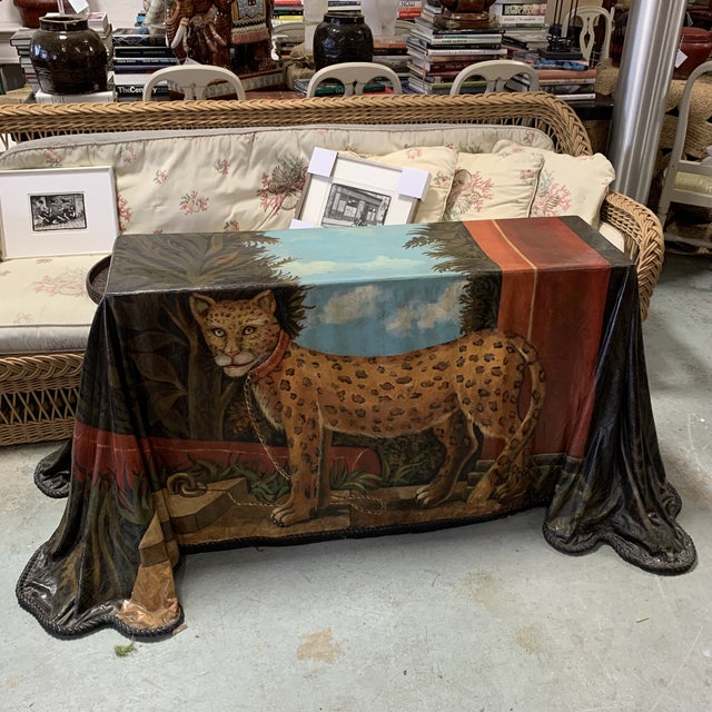 Trompe l'Oeil Fiberglass Draped Cheetah Skilling Style Painting Console Table For Sale - Image 13 of 13