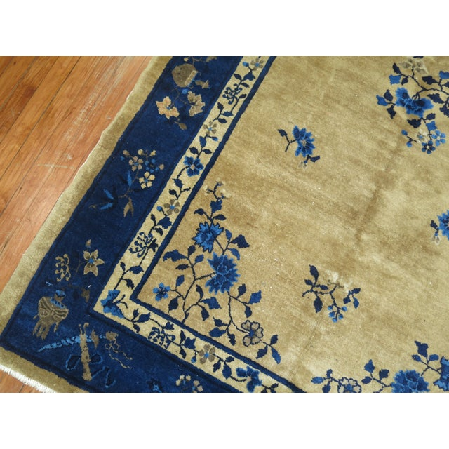 Brown and Blue Antique Chinese Signatured Rug, 5' X 7'9'' For Sale In New York - Image 6 of 9
