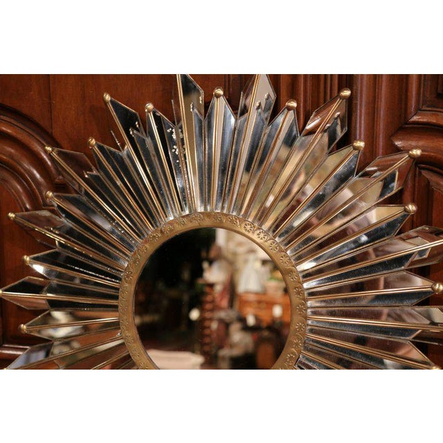 Early 20th Century Early 20th Century French Brass Sunbust Mirror With Glass Beams From Paris For Sale - Image 5 of 7