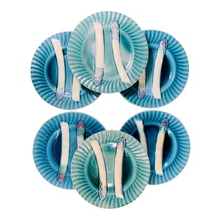Creil Et Montereau French Majolica Turquoise Asparagus Plates - Set of 6 For Sale