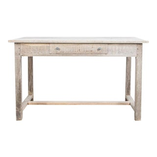 Antique French Bleached Oak Single Drawer Table For Sale