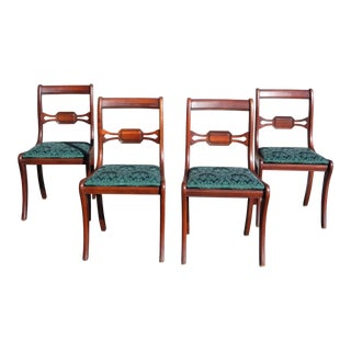 Antique Federal style Drexel Travis Court Mahogany Sabre Leg Dining Chairs - Set of 4 For Sale
