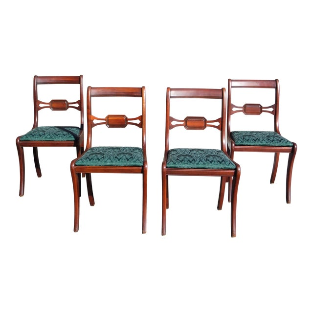 Antique Federal style Drexel Travis Court Mahogany Sabre Leg Dining Chairs  - Set of 4 For - Antique Federal Style Drexel Travis Court Mahogany Sabre Leg Dining