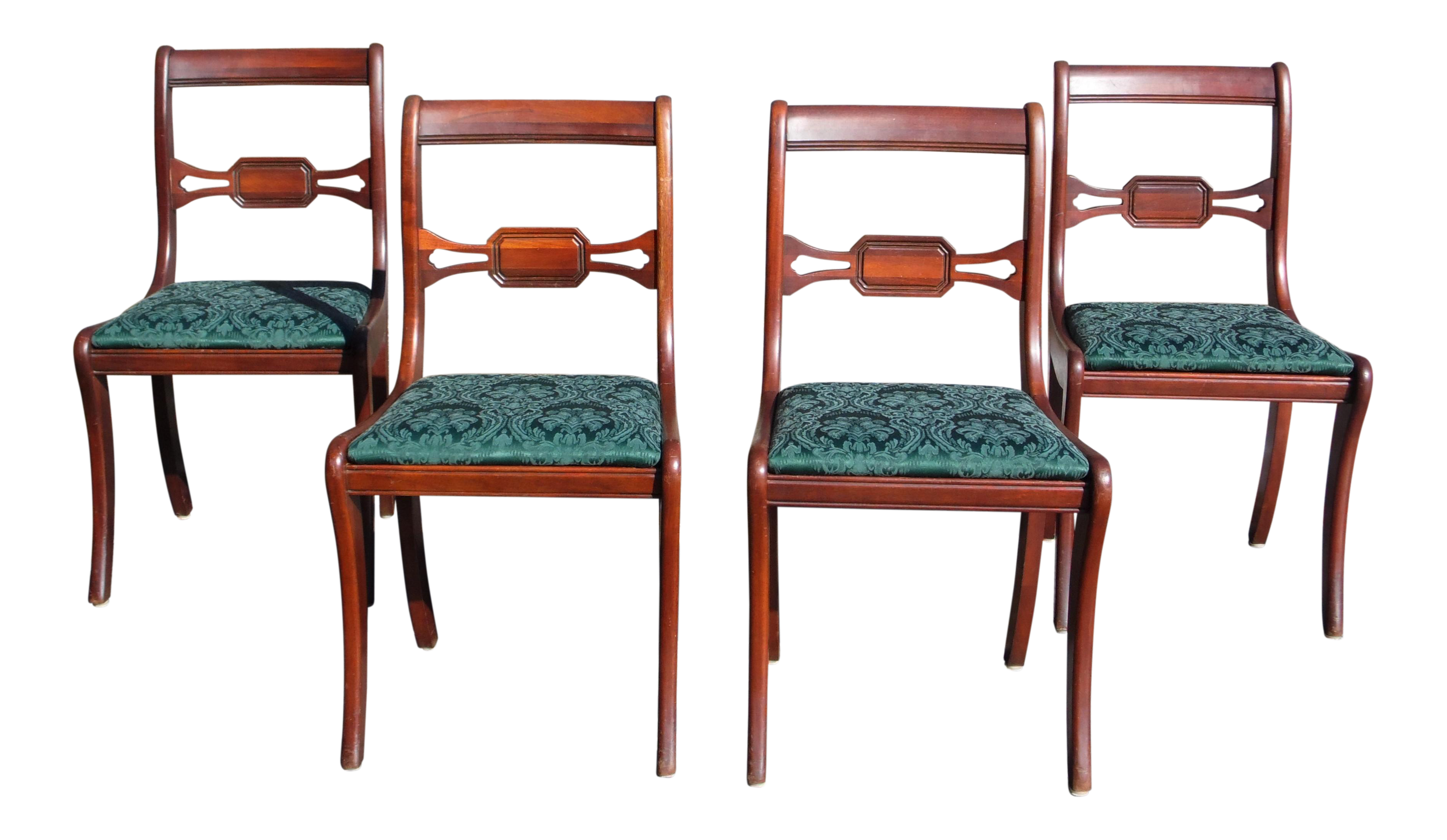 Antique Federal Style Drexel Travis Court Mahogany Sabre Leg Dining Chairs    Set Of 4 For