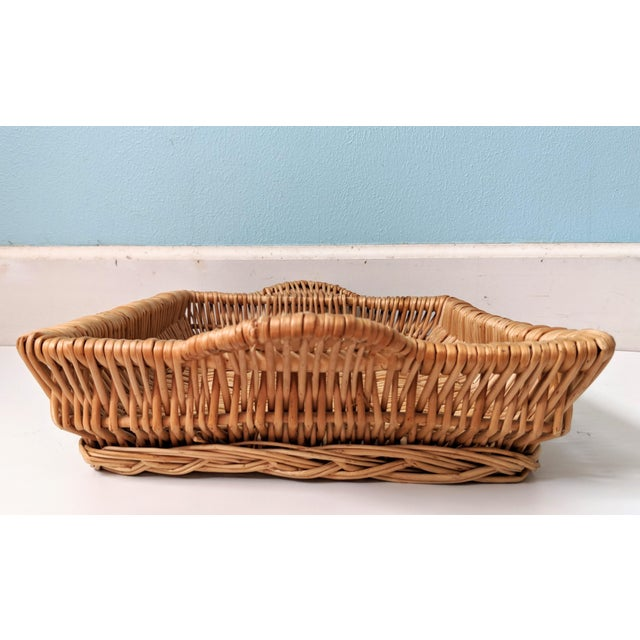 Vintage Boho Chic Wicker Tray Basket For Sale In Houston - Image 6 of 9