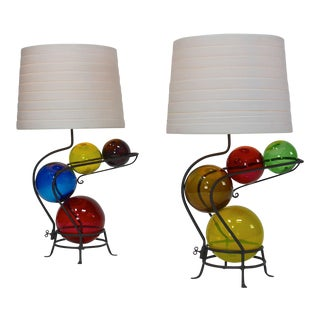 Pair of Iron and Glass Lamps in the Manner of Alexander Calder For Sale