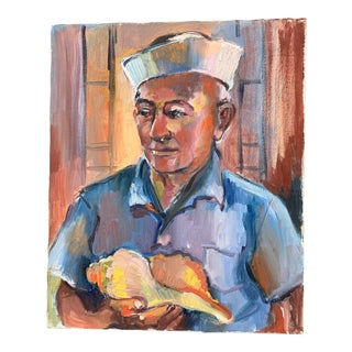 1950s Expressionist Style Portrait of Sailor Holding a Shell Oil Painting For Sale
