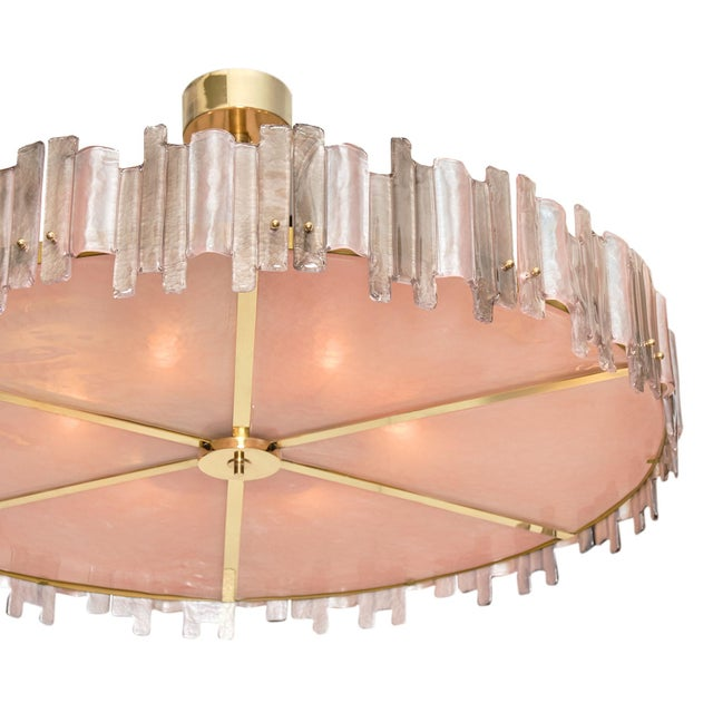 Mid-Century Modern Pink Mazzega Murano Glass Chandelier For Sale - Image 3 of 10