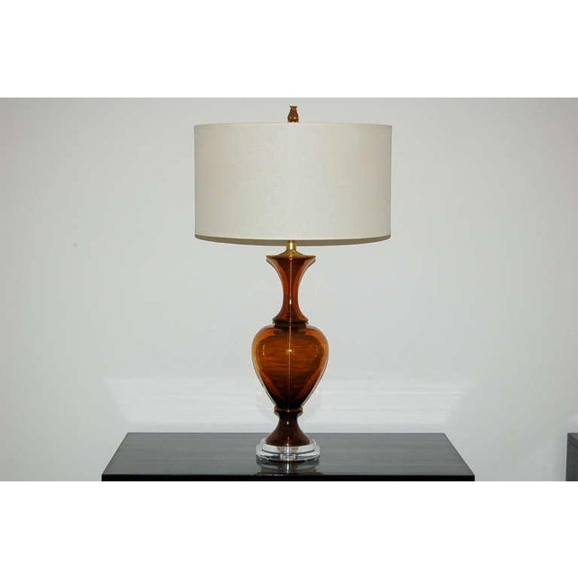 Marbro Vintage Murano Glass Table Lamps in Cognac For Sale - Image 9 of 9