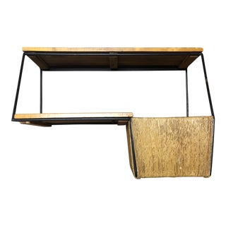 Knoll Umanoff Mid-Century Modern Slat Bench Wall Shelf Unit For Sale
