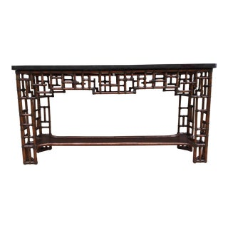Chinese Chippendale Tessellated Black Pen Shell Console Table For Sale
