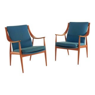 Peter Hvidt Danish Teak Lounge Chairs - a Pair For Sale