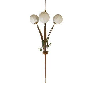 Mid-Century Swedish Walnut Three-Light Ceiling Tension Pole Lamp For Sale