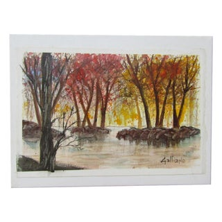 Original Mounted Watercolor Landscape Painting For Sale