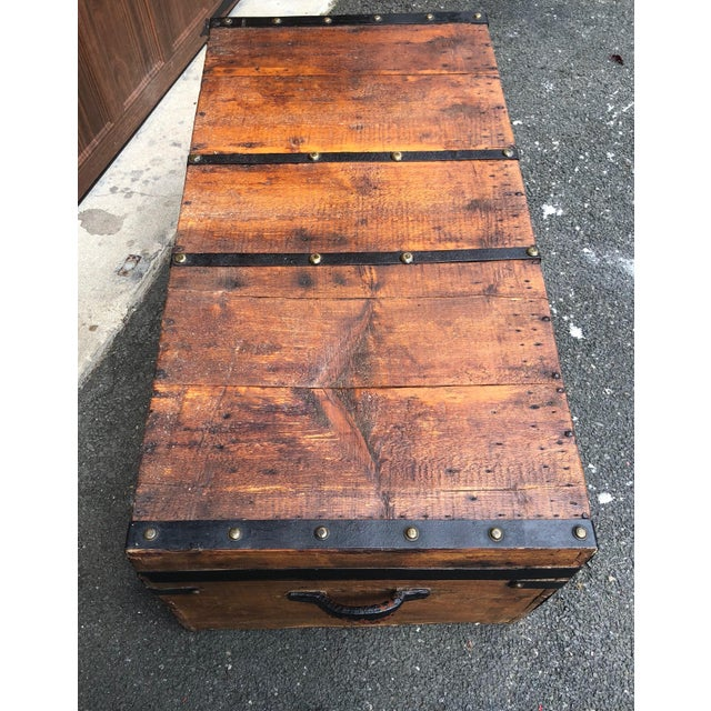 19th Century American Classical Wood and Iron Travel Trunk For Sale - Image 4 of 11