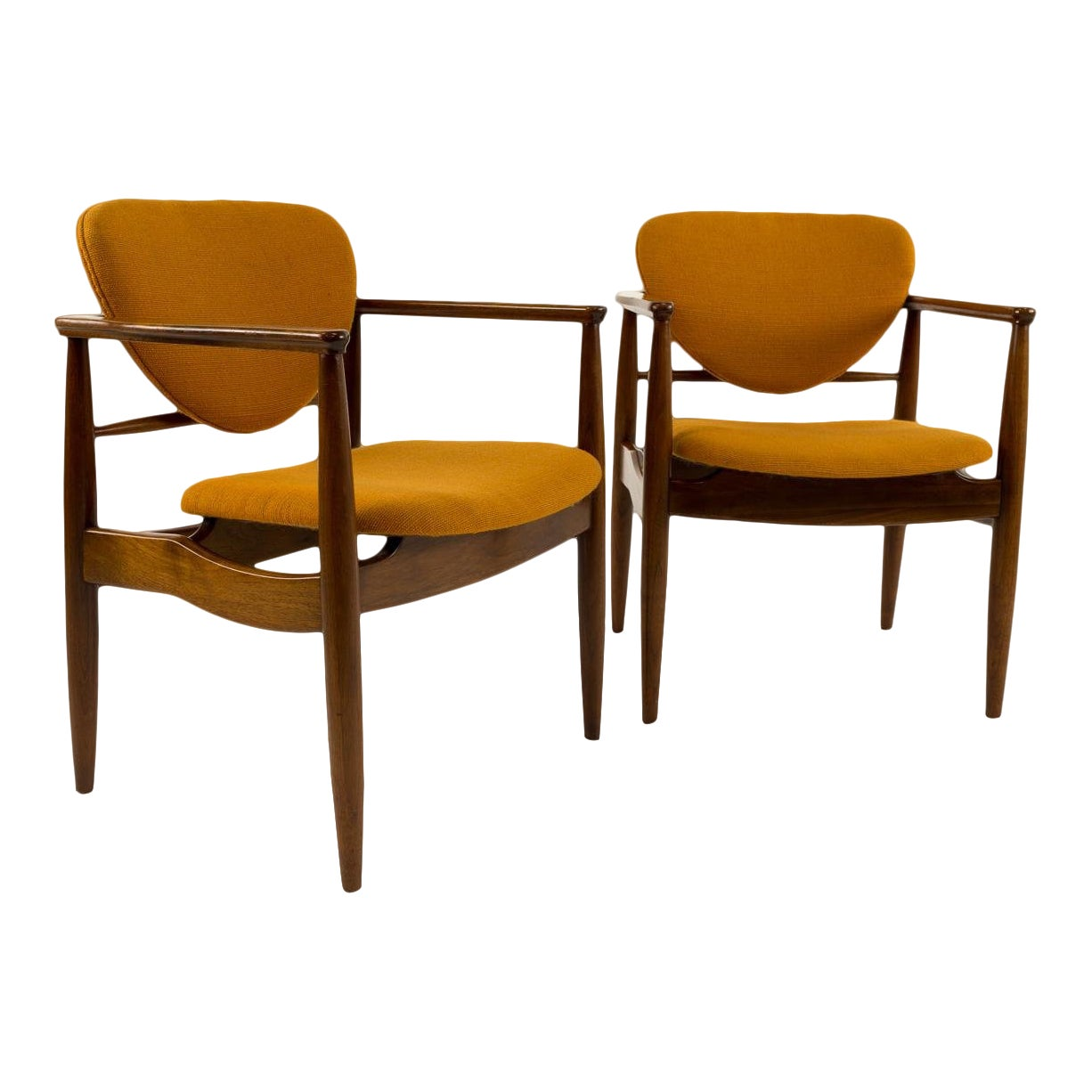 Finn juhl style mid century modern chairs a pair chairish
