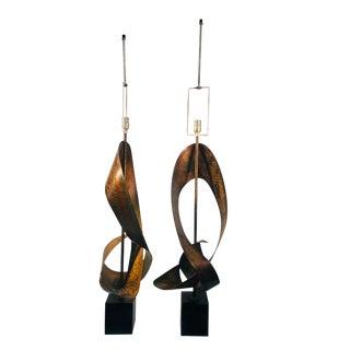 Harry Balmer Brutalist Sculpture Lamps - a Pair For Sale